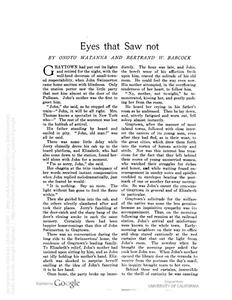 Thumbnail of the first page of the facsimile for Eyes That Saw Not.