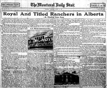 Thumbnail of the first page of the facsimile for Royal and Titled Ranchers in Alberta.