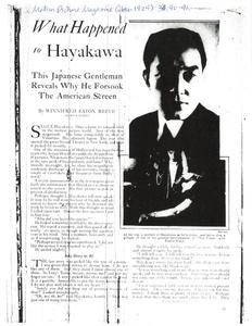 Thumbnail of the first page of the facsimile for What Happened to Hayakawa: This Japanese Gentleman Reveals Why He Forsook the American Screen.