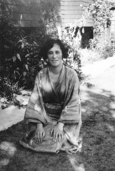 Photograph of Eaton in Japanese dress in California.