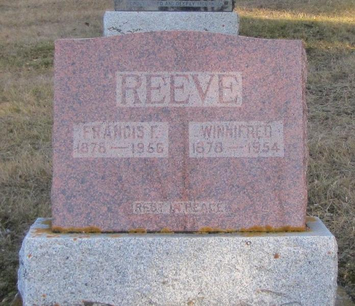 The gravestone for Frank Reeve and Winnifred Eaton in Calgary.