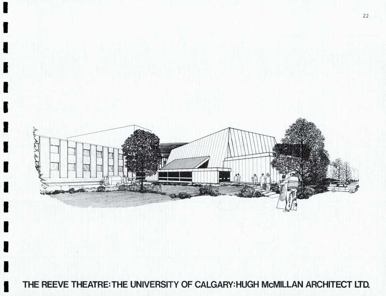 A picture of the architect rendering of the Reeve Theatre at the University of Calgary.
