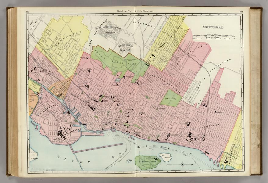 Late 19th-century Map of Montreal.