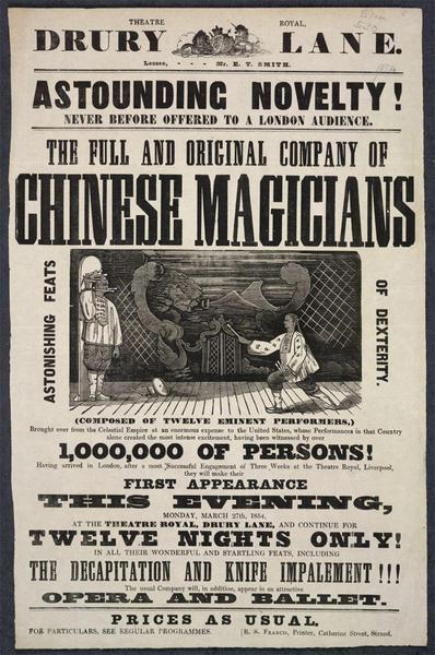 Drury Lane Poster for Chinese Magicians.